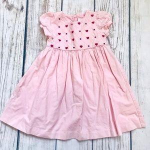 Gymboree Smocked Pink Heart Dress 2t